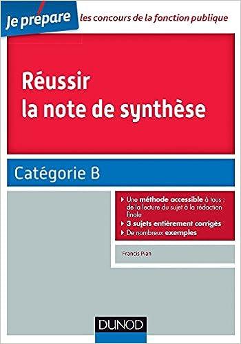 Livre Réussir la note de synthèse - Catégorie B epub, pdf