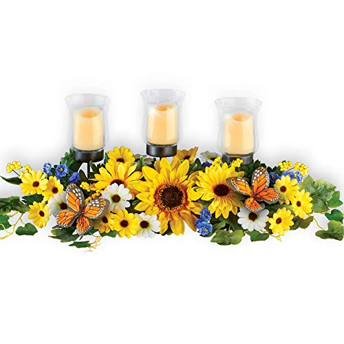 Sunflower and Daisy Candle Holder Centerpiece with Greenery, Butterflies and LED Votives - Decorative Accent for Mantel or Dining Table ()
