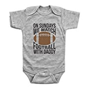 Baffle® Funny Football Onesies for Babies/On Sundays, Football W/Daddy (3 MO, Grey Short Sleeve)