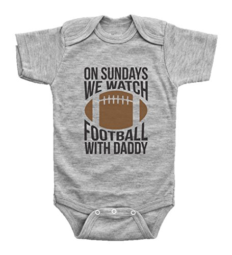 Baffle Funny Football Onesies for Babies/ON Sundays, Football W/Daddy (3 MO, Grey Short Sleeve)