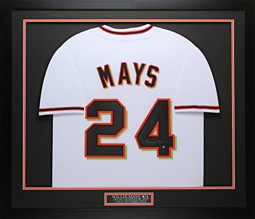 (Willie Mays Autographed White Giants Jersey - Beautifully Matted and Framed - Hand Signed By Willie Mays and Certified Authentic by Say Hey - Includes Certificate of Authenticity)