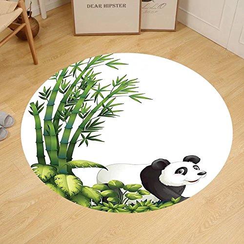 Gzhihine Custom round floor mat Animal Decor Happy Panda With Tropical Plants Bamboo Trees Endangered Mammals Cartoon Art Bedroom Living Room Dorm Decor Green Black White