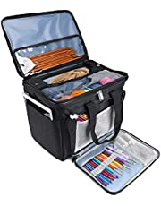 ProCase Knitting Bag, Yarn Storage Organizer Tote Bag with Cover and Inner Divider for Projects, Circular and Straight Knitting Needles, Crochet Hooks, Skeins of Yarn (No Accessories Included)