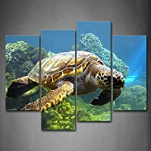 Turtle Swimming In Bottom Of Sea Wall Art Painting The Picture Print On Canvas Animal Pictures For Home Decor Decoration Gift