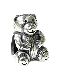 .925 Sterling Silver Cute Teddy Bear Bead For European Chamilia Biagi Troll Pandora Charm Bracelets