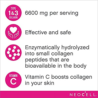 NeoCell Super Collagen + C - 6,000mg Collagen Types 1 & 3 Plus Vitamin C - 250 Count (Packaging May Vary)