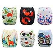 Babygoal Baby Cloth Diapers,Adjustable Reusable Pocket Diaper Pail 6pcs + 6 Inserts+One Wet Bag,Girl color 6FG30