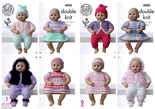 King Cole Dolls Clothes Knitting Pattern 4000 by King Cole