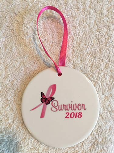 Breast Cancer Survivor Ornament Pink Ribbon~ Grandmother Mom Sister Friend ~ Dated 2016