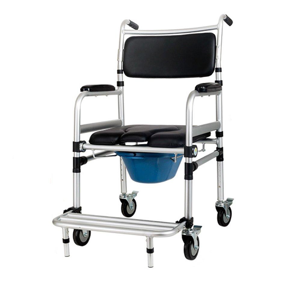 LXN ノンスリップ折りたたみ強力で安定したトイレ椅子トイレ椅子バスルームシャワースツール高齢者/妊婦/障害者モバイルトイレ椅子ベルトホイール B07DYKC36Z