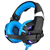 USB Gaming Headset LED Glowing Headphones with Microphone Black Blue