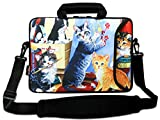 AUPET 16 16.5 17-17.3-Inch Water Resistant Neoprene Sleeve Notebook Neoprene Messenger Case Tote Bag with Outside Handle and Adjustable Shoulder Strap & Extra Pocket(Nice Cat Painting)