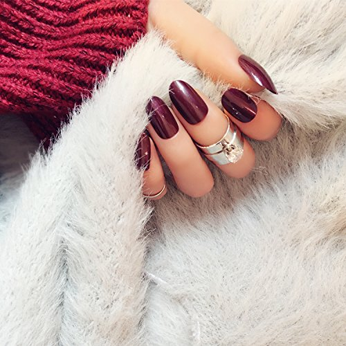 [24pcs Wine Red Solid Fake Nails Oval Short Full Fingers Decor Tips with Glue Sticker Acrylic Tips for Nail] (Red Fake Nails)