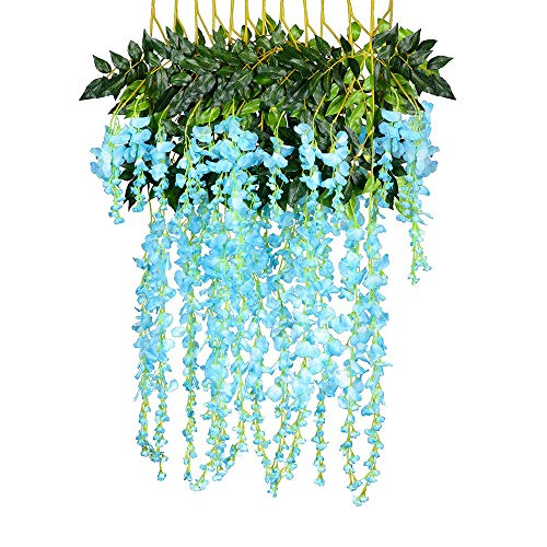 Artificial Flowers 12 Pack Fake Wisteria Hanging Garland Silk Flowers String Home Party Wedding Decor ()
