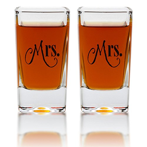 Mrs. & Mrs. Square Shot Glasses - Gay Couple Same Sex Shot Set - Engagement, Wedding, Anniversary, House Warming, Hostess Gift - 2.8 Ounce by Smart Tart Design