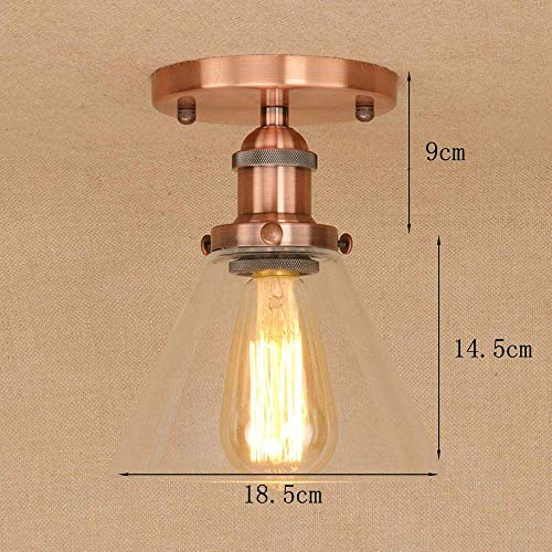 BOSSLV Vintage Ceiling Light with Glass Shade Round Antique Ceiling Lamp Hallway Studio Hall Foyer Gallery Kitchen Ceiling Lighting Iron Glass Lamp Ceiling Decoration Light E27 1 Bulb