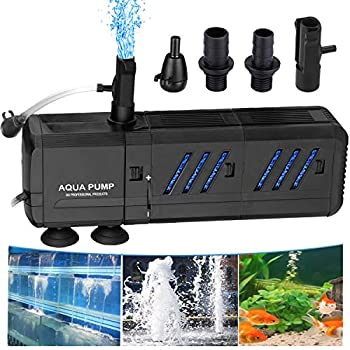 Thanger Water Fountain Pump 400 GPH with Two Filter (1500L/H), Submersible Water Circulation System Oxygen Charging WaveMaker Water Filtering Pump for Large-Sized Fish Tanks, Aquarium, Ponds