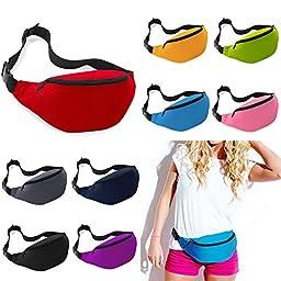 Unisex Men Women Fashion Sporty Multi-purpose 2-Zipper Waist Belt Bag Fanny Pack Adjustable Strap for Sport Hiking Traveling Passport Wallet (9pcs Mixed Colors)