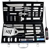 ROMANTICIST 27pc BBQ Grill Accessories Set with Thermometer - Heavy Duty Stainless Steel Grill Utensils in Aluminium Case for Outdoor Camping Backyard Barbecue for Men Dad