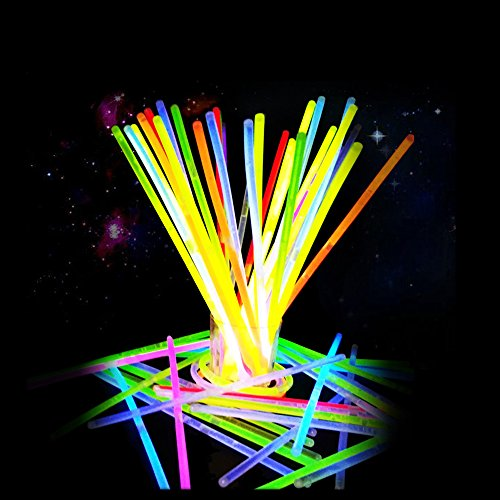 Taotuo Light Up Glow Sticks, 50 Pack 8 LED Glowsticks with connectors for Bracelet and Necklace, Fun Party Supplies Glow in The Dark