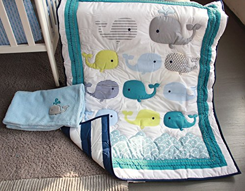 NAUGHTY BOSS Unisex Baby Bedding Set Cotton 3D Embroidery Ocean Whale Quilt Bumper Mattress Cover Blanket 8 Pieces Ocean Blue by NAUGHTYBOSS (Image #5)