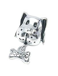 Queenberry .925 Sterling Silver Top Dog Puppy Bone Bead Story Charm For European Chamilia Biagi Troll Pandora Charm Bracelets