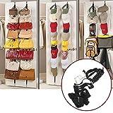 16 Up Down Door Hooks Wall Hanger Space Saver Handbags Bags Clothes Hat Bedroom