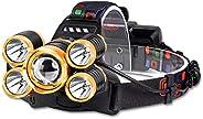 Abajur, Lanterna LED frontal Recarregável USB Lanterna LED de 4 modos à Prova d'água com 2 Baterias de Gra