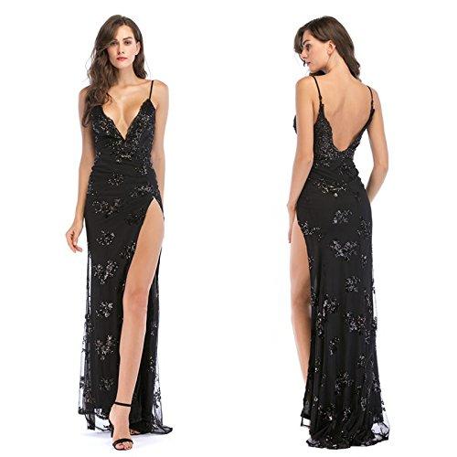 De black Falda Con Vestido De Cuello Meizizivestido MeiZiZi Vestido Noche En Casual V YZSf7wq