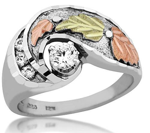 Polished! Black Hills Gold Gold/Sterling Silver CZ Engagement & Wedding Band Ring Set