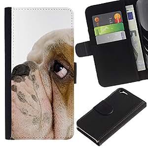 eJoy---La carpeta del tirón la caja de cuero de alta calidad de la PU Caso protector - Apple iPhone 6 - --English Bulldog British Breed Dog Puppy