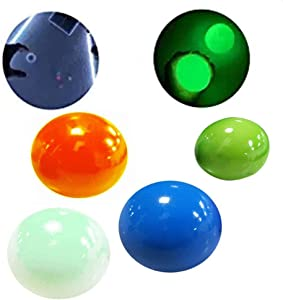 AZ.BNC 4 PCS Sticky Wall Balls,Ceiling Balls Sticky Balls for Kids Adult,Stick to The Wall and Slowly Fall Off Luminescent Stress Relief Squishy Sticky Balls for Fun Toy for ADHD,OCD,Anxiety