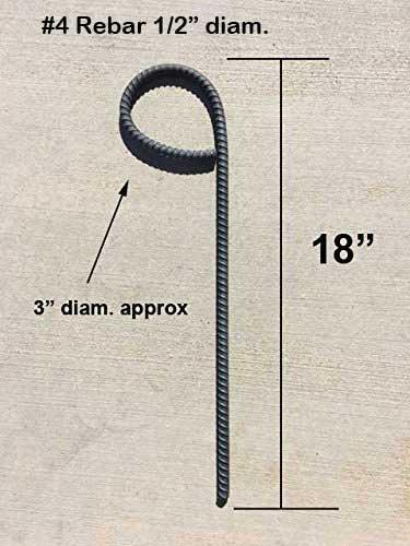 #4 Rebar Metal Stake with Loop - 18'' high with Loop - Pack of 10 by CS Rebar