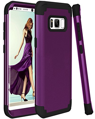 Galaxy S8 Plus Case, SAVYOU Dual Layer Hybrid Shock Absorbing Rungged Protective Case with Hard PC + Soft Silicone Bumper Cover for Galaxy S8 Plus Purple Black