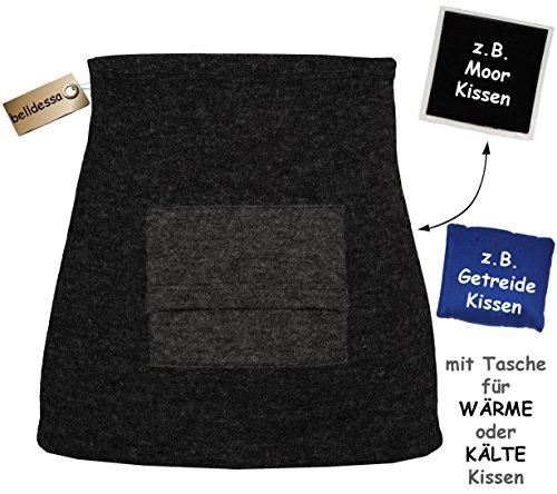 """mit TASCHE - für Moorkissen / Wärmekissen / Kirschkernkissen - """" Angora Wolle - schwarz """" - Nierenwärmer / Rückenwärmer / Bauchwärmer - Größe: Damen XS - Frauen - ideal auch für Blasenentzündung und H"""