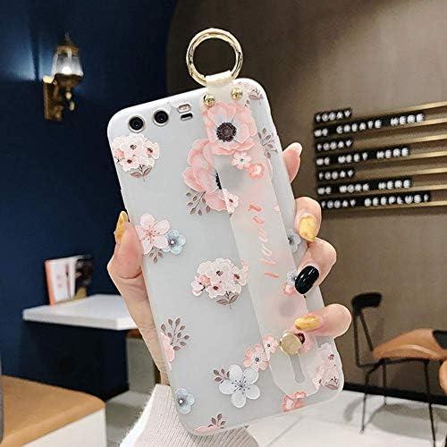 Herbests Kompatibel mit Huawei P10 Hülle Blumen Flower Handyhülle mit Handschlaufe Ständer Ultra Dünn Schutzhülle Stoßfest Matt Hülle Silikon Tasche Case Backcover,Weiß Rosa
