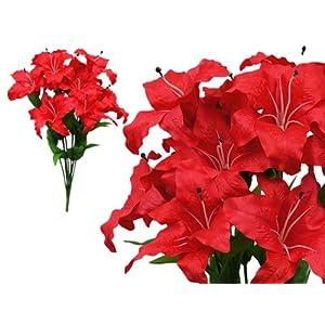 BalsaCircle 54 Silk Extra Large Lilies - 6 Bushes - Artificial Flowers Wedding Party Centerpieces Arrangements Bouquets Supplies 75