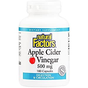 Natural Factors - Apple Cider Vinegar 500mg, Supports Healthy Digestion & Circulation, All-Natural, Assists with Cleansing and Detoxing, 180 Capsules