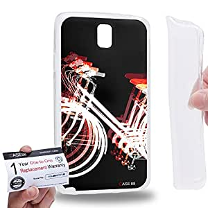 Case88 [Samsung Galaxy Note 3 Neo N750 N7505] Gel TPU Carcasa/Funda & Tarjeta de garantía - Art Fashion Reversed Red Psychedelic Bicycle