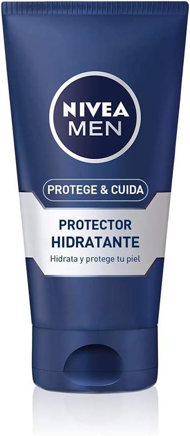 NIVEA MEN Protege & Cuida Hidratante Protector (1 x 75 ml), crema facial hidratante para el cuidado de la piel seca, protector facial para hombre