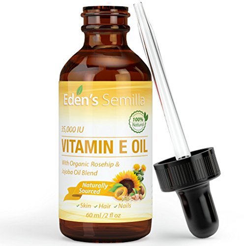 100% Natural Vitamin E Oil 35,000 IU + Organic Rosehip & Jojoba Blend - 2 OZ Bottle. FAST Absorbing Skin Protection For Face & Body. Pure Ingredients - Ideal For Sensitive Skin - Use Daily (Vitamin E Capsules For Hair)