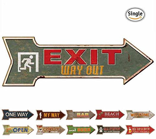 HANTAJANSS Street Signs with Way Out Retro Exit Signs for Bar Decoration (Way Street Sign)