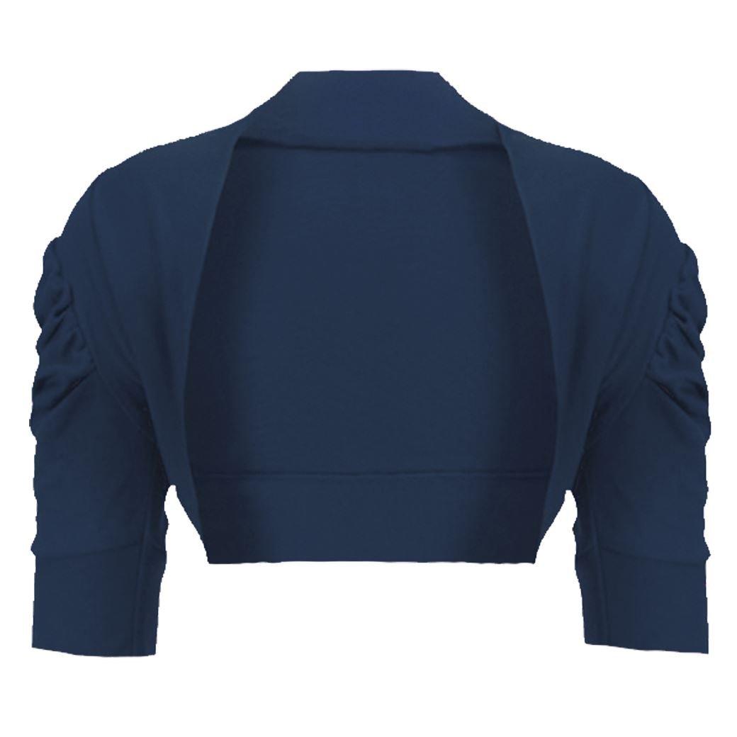 LotMart Girls Plain Bolero Shrug Kids Ruched Sleeve Cropped Cardigan Casual Top