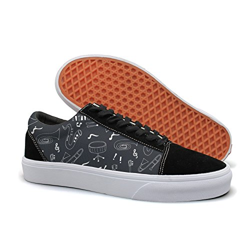 Skateboard Top Skate Womens Shoes Low Shoes Jazz Instruments Musical Suede Feenfling Flat Canvas B0qgn