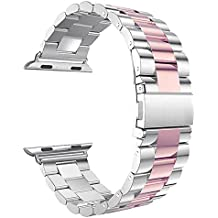 Leefrei Stainless Steel Watch Band with Double Button Folding Clasp for Apple Watch Series 3 Series 2 and Series 1 38mm - Silver/Rose Gold