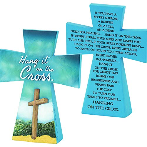 Cross Blue Resin - Dicksons Hang It On The Cross Blue 4 x 5 Resin Double Sided Tabletop Cross