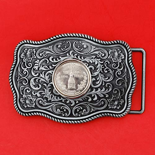 - US 2000 Maryland State Quarter BU Uncirculated Coin Silver Tone Belt Buckle NEW - Beautiful Western Scroll Design