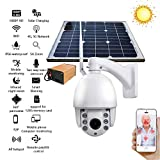 OMZBM Multifunction 360 Degree Panoramic WiFi IP 4G Solar Power Battery Low Power Dome Rotate Surveillance Camera 1080P HD 2.0M 5X Optical Zoom Outdoor Waterproof