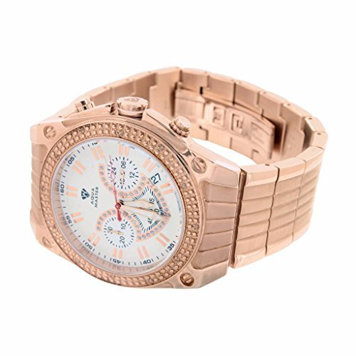 Aqua Master Mens Watch For Sale 14k Rose Gold Finish Water Resistant Stainless Steel Analog