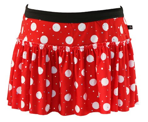 Red with White Polka Dots Sparkle Running Skirt M